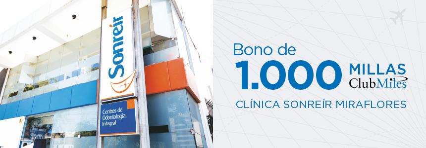 Gane 1.000 Millas ClubMiles por consumos iguales o mayores a S/. 500 en la Clínica Sonreír Miraflores.